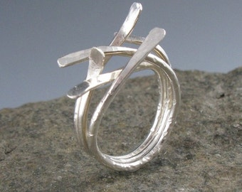 Sterling Silver Sticks Ring-Handmade