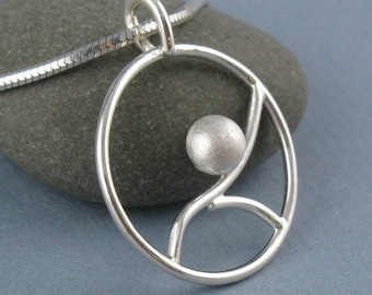 Tidal Small Sterling Silver Round Pendant-Handmade