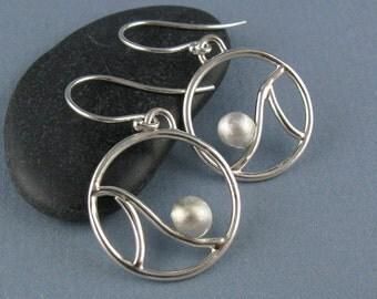 Tidal Round Wave Sterling Silver Earrings Handmade