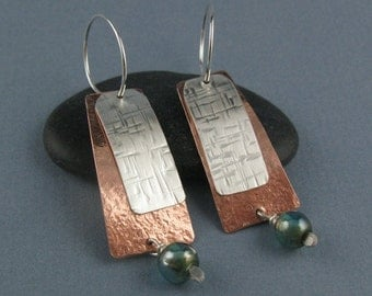 Copper and Sterling Silver Interchangeable Earrings with Aqua Bead