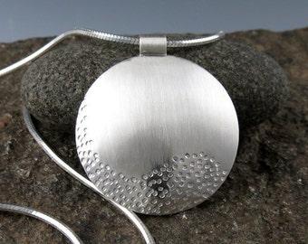 """Silver Zen Small Round Pendant - """"Sand Pendant"""""""