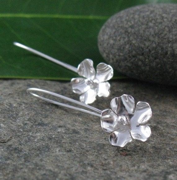 Sterling Silver Long Flower Earrings-Handmade