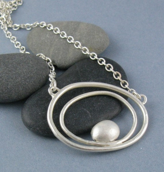 Tidal Sterling Silver Pebble Necklace-Handmade