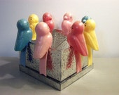 Vintage Clip On Bird Decors Pretty Pastels Set of 8 Early Plastic Ornaments