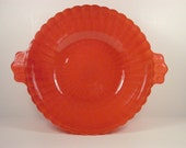 Depression Glass Serving Bowl Vintage Fired On Tangerine Orange