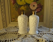 milkglass salt and pepper shakers quilted pattern gold leaf caps made in japan french farmhouse country shabby