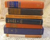 vintage book collection 7 orange and blue pottery barn style photography prop interior design home decor