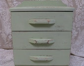 painted wood doll dresser chest of drawers jewelry box mint green 14 inches tall 3 drawers