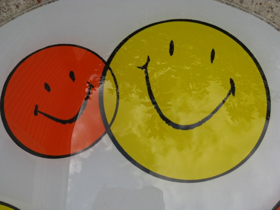 reserved for annie----smiley faces ceiling light orange and yellow glass 14 inch diameter 60s kitsch
