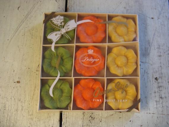 1970s era orange yellow green box of guest soap delagar brand new old stock mod movie prop