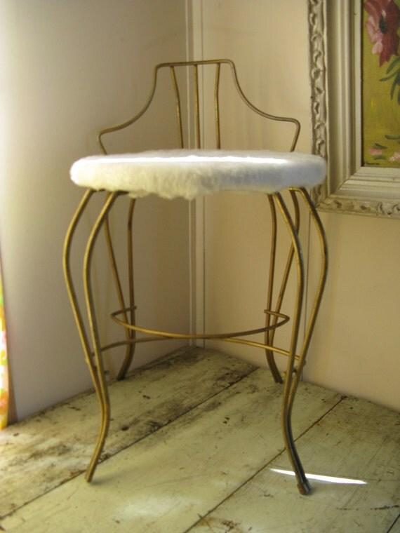 hollywood regency vanity stool art deco curved gold metal faux fur seat mid century romantic shabby