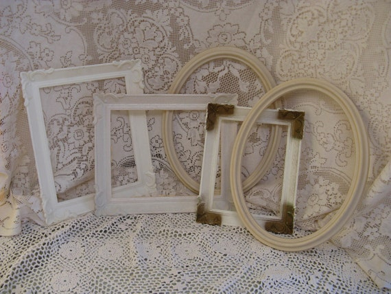 frame set 5 piece plastic oval square cream  weddings shabby chic romantic