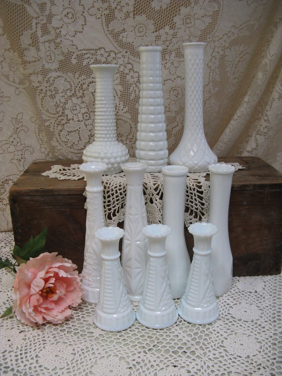 reserved for melissa---milkglass bud vases set of 10 weddings showers garden parties various styles