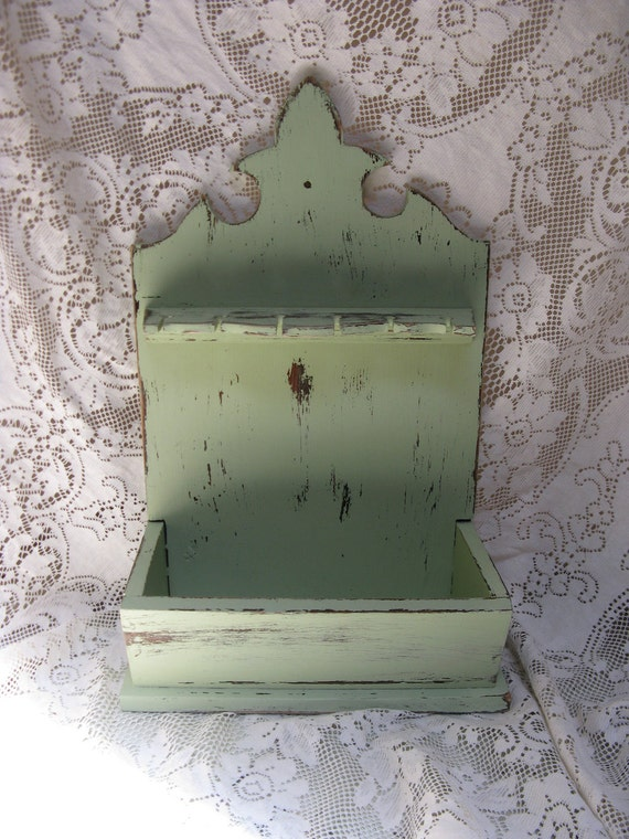 wooden knife cutlery rack mint green fleur de lis french farmhouse  rustic shabby country