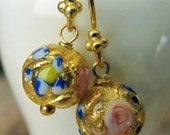Earrings, Murano Glass, Fiorato Bead Dangle, Gold Foil Swirls with Pink, Blue and White Flowers, Gold Filled Earwires