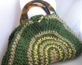 Market Bag, Crocheted Jute Garden Twine, Green, Beige, Yellow