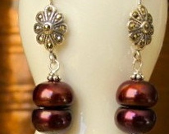 Pearl Earrings, Marsala Pearls Dangle from Marcasite Studded Floret. Sterling Silver Ear Hooks