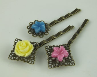Flower Hair Pins, Yellow Rose, Blue and Pink Jasmine, Resin Flowers Set on Antiqued Brass Filigree, Under Ten Dollars