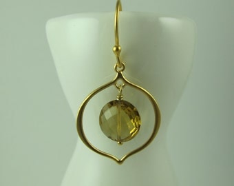 Dangle Earrings, Arabesque of Gold Vermeil Frames Faceted Brilliant Golden Quartz Coin