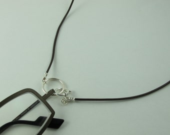 LoopM Readers Keeper or Sunglasses Holder Sterling Silver Loop, Clasp, Crimps on Greek Leather Cord Brown 23 in.