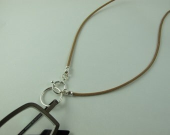Eyeglass Necklace,  LoopM for Readers or Sunglasses, Sterling Silver Loop on a Greek Leather Cord Tan 23 in.