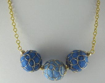 Fiber Necklace Felt Balls Wire Wrapped, Brass Chain, Fabulous Blues,  Adjustable to 22 inches