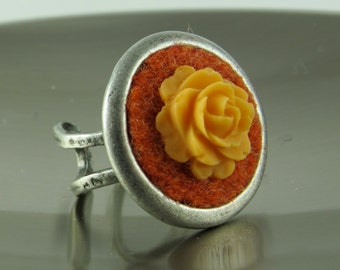 Ring, Recycled Wool Felt with Resin Flower, Antiqued Silver Brass Ring, Adjustable, Tangerine Tango