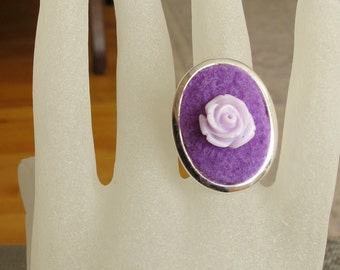 Large Ring, Fiber and Metal, Oval Bezel Setting, Silver Plated, Purple Felted Wool from Recycled Sweater, Lavender Resin Rose