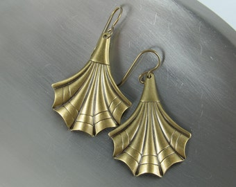 Dangling Fans Earrings, Brass Deco Stylized Fans Dangle from Brass French Ear Hooks, Matte Finish