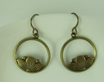 Earrings, Brass, Etched Lotus Blossom Framed in a Circle, French Earwires