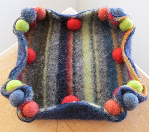 Jewelry Tray Container Wool Felted Recycled Sweater, Green, Orange, Red, Teal