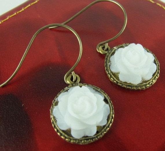 Dangle Earrings, Translucent White Resin Rose, Vintaj Ear Hooks, Brass Bezel, Under Ten Dollars