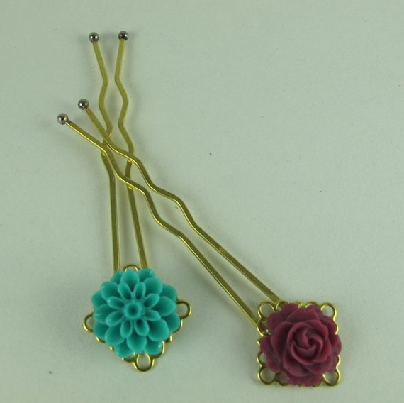 Floral Hair Ornaments, Resin Mum and Rose Mounted on Filigree-Topped Hair Sticks, Gold Tone Brass