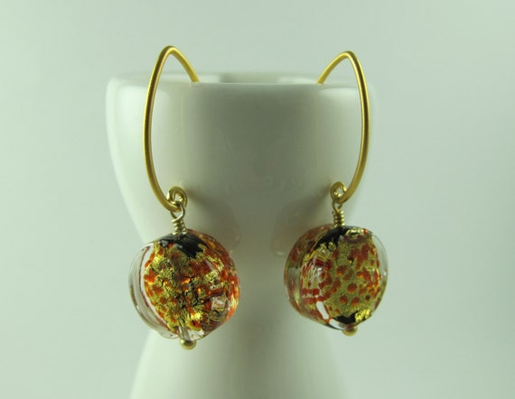 Earrings, Murano Glass Coins, Black, Red and 24kt Gold Foil, Vermeil Marquise Shaped Earwires