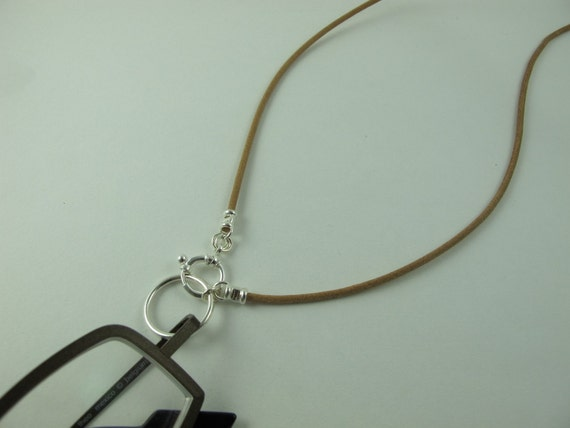 """Holder, Keeper, """"LoopM"""" for Eyeglasses or Sunglasses, Sterling Silver, Greek Leather Cord Tan 24 in."""