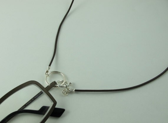 Readers Keeper, LoopM, Sunglasses Holder, All Sterling Silver on Greek Leather Cord Brown 24 in.