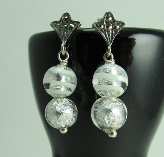 Murano Glass Winter Silver White Earrings Sway from Marcasite Three Point Fan Post, Sterling Silver
