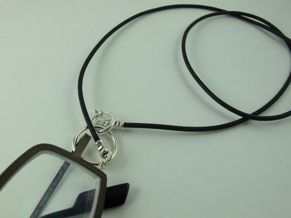 LoopM Glasses Holder/Keeper Necklace, Sterling Silver Loop, Clasp, Crimps on Greek Leather Cord, Black 22 in.