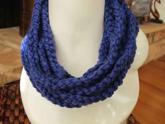 Cowl of Crocheted Chains Neckwarmer in Cobalt Blue Rope Necklace 28 Inch Circumference
