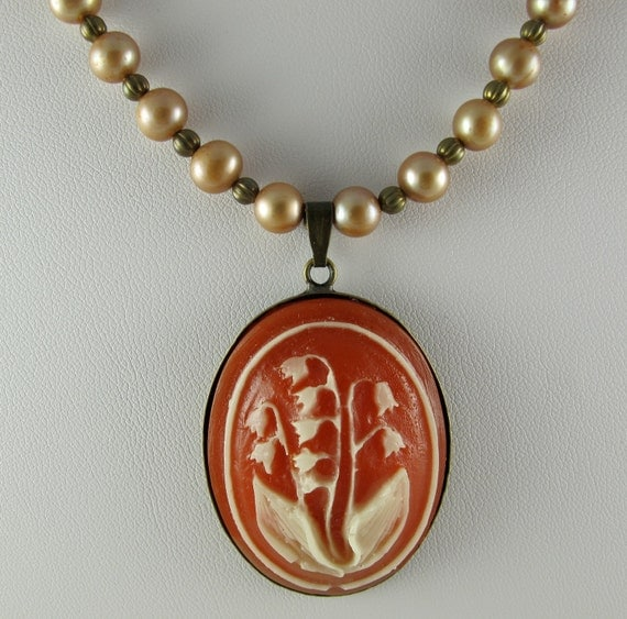Pearl  and Brass Bead Necklace, Pendant of Carnelian Lily of the Valley Vintage Cameo from 70's and 80's, Adjustable
