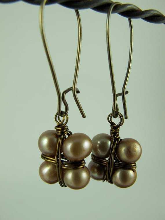 Dangle Earrings,  Four Champagne Pearls, Wire Wrapped like a Bundle, Japanese Style, Kidney Earwires, Brass