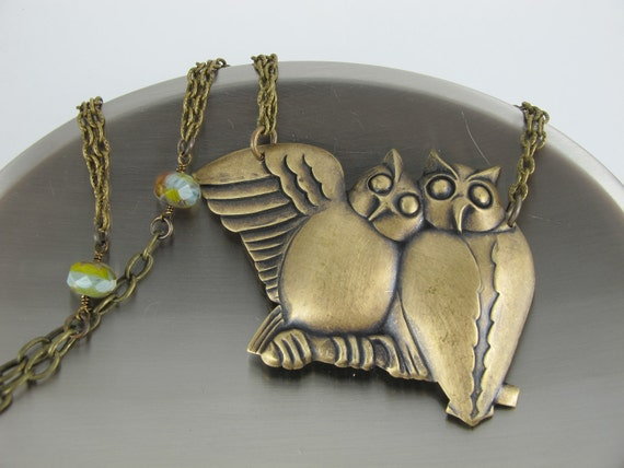 Owls in Love Necklace, Large Brass Pendant of Two Owls, Brass Chain Embellished with Czech Glass Beads