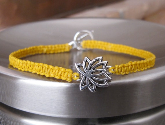 ANKLET Summer Macrame in Sunshine Yellow wtih a Silver Lotus Centerpiece and a Toggle Clasp