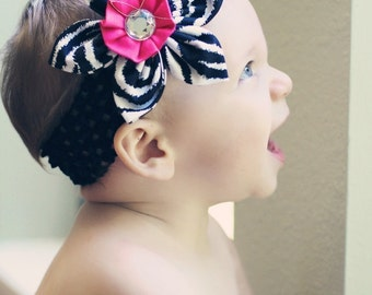 Zebra and Hot Pink Fabric Flower Headband