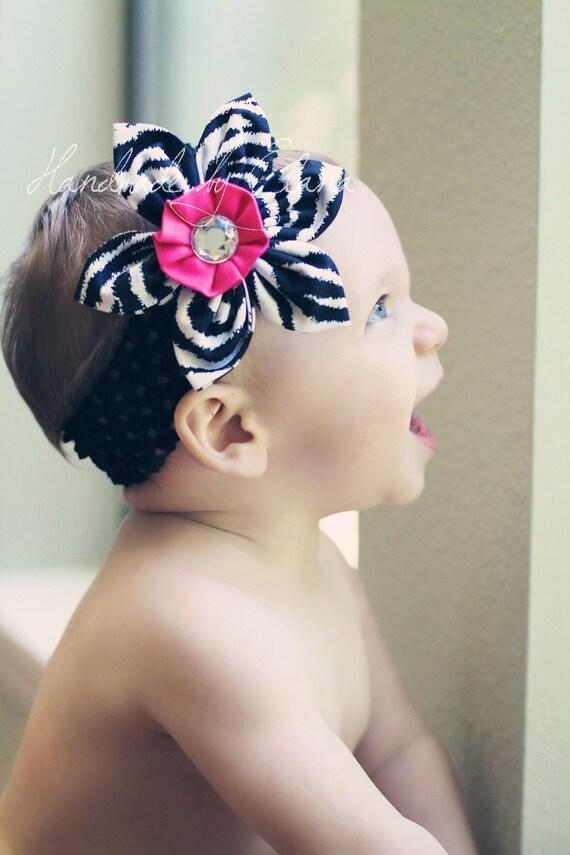 Zebra and Hot Pink Fabric Flower Headband