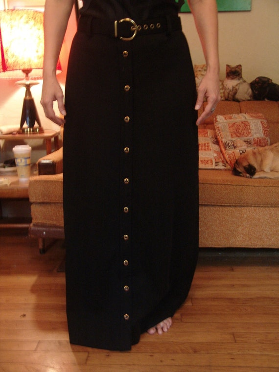 60s long black  gold-button down maxi skirt by lord & taylor. large xl plus size 16. waist 32 hips 44 length 39