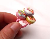 Kawaii Dollhouse Miniature Ring - A Pile of Yummy Donuts with Colorful Icing and Sprinkles on Pink Doily