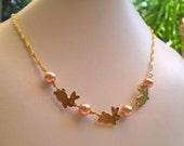 Kawaii Necklace - Baby Bunnies - 3 Cute Bunnies on Delicate Gold Plated Chain with Dusty Pink Glass Pearls - Sweet Lolita Cutesy Rabbits