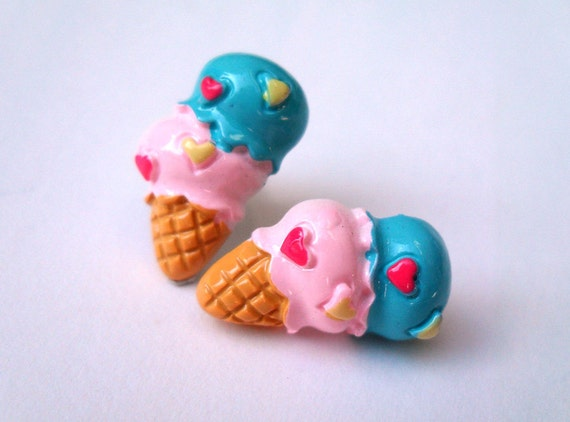 Kawaii Ear Studs - Everybody Loves Ice Cream - Strawberry and Bubblegum Ice Cream in a Cone with Heart Sprinkles