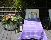 Purple Shibori Stripe Linen Beach Towel